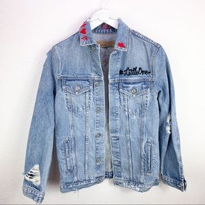 GRLFRND Daria Custom Embroidered Denim Jean Jacket